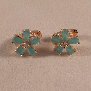 18K Yellow Gold Blue Opal Topaz Flower Earrings GF
